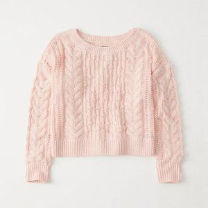 Abercrombie & Fitch Blush Bobble Cable Sweater